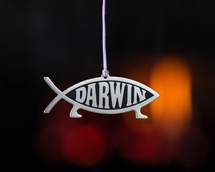 Darwin Fish Metallic Hanging Ornament darwin, darwin fish, ornament