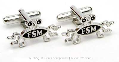 Flying Spaghetti Monster Cufflinks (pair) Bobby Henderson,pirate,fsm,flying spaghetti monster