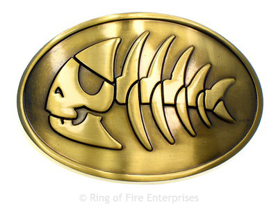 Jolly Pirate Fish Belt Buckle Bobby Henderson,fsm,flying spaghetti monster,pirate,pirate fish,jolly