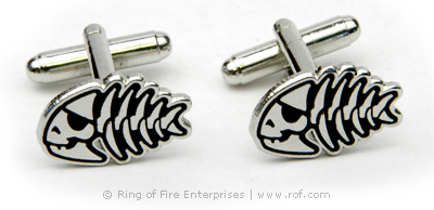 Jolly Pirate Fish Cufflinks (pair) Bobby Henderson,pirate,fsm,flying spaghetti monster